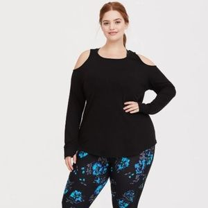 BLACK COLD SHOULDER FRENCH TERRY ACTIVE (17-GG)
